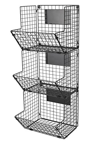 Premium 3-Tier Wall Mounted Hanging Wire Baskets with Chalkboards - High-Grade Black Iron - Fruit or Produce Storage - Bathroom Towel Rack - Rustic Country-Style Organizer by Saratoga Home (Image #6)