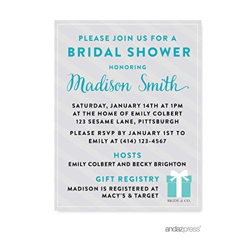 Andaz Press Bride & Co. Bridal Shower Collection, Personalized Invitations Custom Made, -