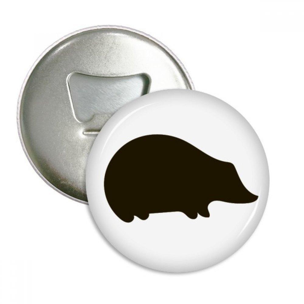 Black Hedgehog Animal Portrayal Round Bottle Opener Refrigerator Magnet Badge Button 3pcs Gift