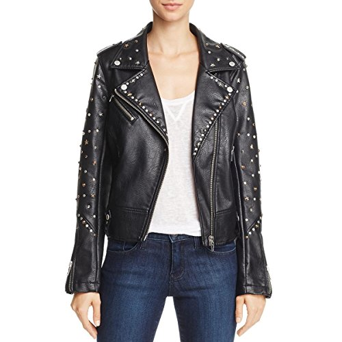 [BLANKNYC] Blank NYC Womens Fall Vegan Leather Motorcycle Jacket Black M