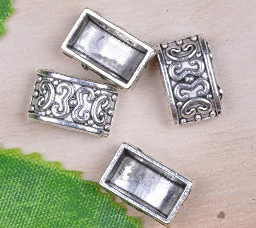 FidgetKute Wholesale 40pcs Tibetan Silver Nice 2-Holes Spacer Beads 13x8.2mm A0127