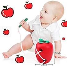Apple Montessori Wooden Early Educational Toys For 3 +Years Old Baby Kids,Wood Caterpillar Eat Apple Beaded String Line Wearing Rope Best Self Tying Motor Skill Puzzle Toy for Child Toddler Boy Girl