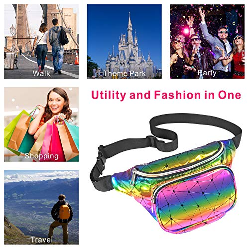 Packism Fanny Pack, Shiny Neon Waist Pack Bag for Festival Rave Party, Holographic Fanny Pack for Women Men, Waterproof Iridescent Belt Bag, Rainbow