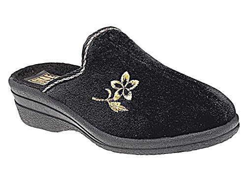 Slip Comfort House Helen Ladies Black Shoe Velour On Slippers Size Warm 3 8 Mules Wedge XSTwqw