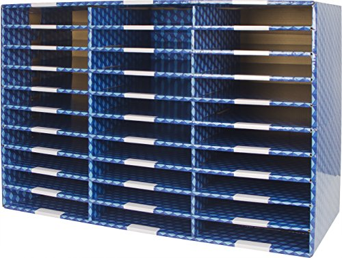 Storex Corrugated Mailroom Sorter, 30 Compartments, Blue (80303U01C)
