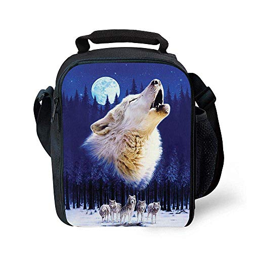 HIMI Insulating Thermal Wolf Animal Print Lunch Bags for Kids Boys Girls Washable Tote Crossbody Lunch Container Food Carrier for School Travel