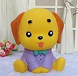 Goodscene Cartoon Piggy Bank Dress Puppy Piggy Bank Home Decoration Birthday Gift (Purple Clothes Yellow Dog)