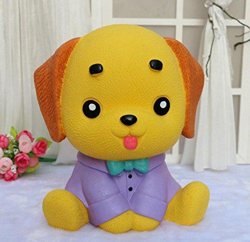 Goodscene Cartoon Piggy Bank Dress Puppy Piggy Bank Home Decoration Birthday Gift (Purple Clothes Yellow Dog) by Goodscene