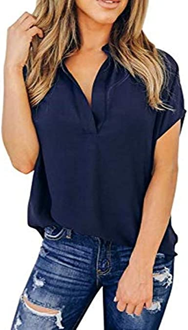 Blusas de Mujer Elegantes de Fiesta Camisa Casual de Manga Corta de Gasa de Verano Tops Blusa Camisetas chulas para Mujer de Oficina Suelto Verano LiNaoNa: Amazon.es: Ropa y accesorios