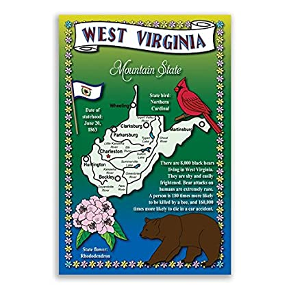 Amazon West Virginia State Map Postcard Set Of 20 Identical