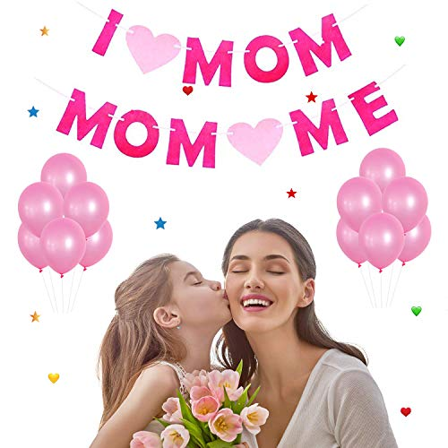 Mothers Day Decorations (2 Banners and 20 Pink Balloons) - Perfect Mothers Day Gifts - Best Mom Ever Decorations Mothers Birthday Party Photo Backdrop Prop