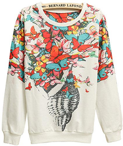 EkarLam Hot Sale Women Crew Neck Floral Print Pullover Sweater Casual Sweatshirt (Conch Butterflies) US XS-M(Tag Free Size)