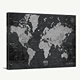 Black White Personalized World Map Wall Art Canvas Print, Custom Travel World Map Print Art, Large Wall Art World Map Canvas Art, Large Wall Art World Map Push Pin Canvas Print