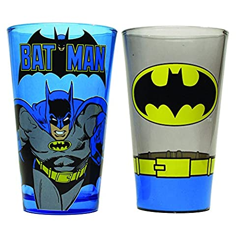 Silver Buffalo BN031P1 DC Comics Batman Blue Monogram and Uniform Pint Glass Set, 2-Pack - Monogram Pint Glass