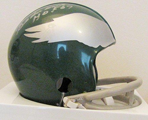 (Chuck Bednarik 2 Bar Autographed Throwback Philadelphia Eagles Mini Helmet with Hall of Fame Inscription)
