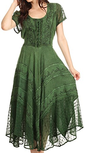 Sakkas 1322 Marigold Embroidered Fairy Dress - Green - S/M (Green Fairy Dress)