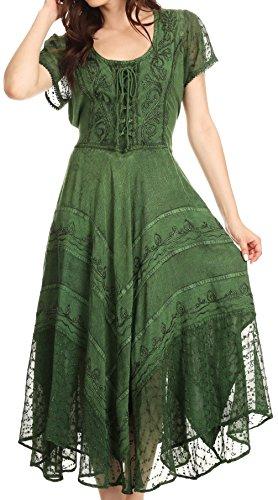 Sakkas 1322 Marigold Embroidered Fairy Dress - Green - 1X/2X (Plus Size Fairy Dress)