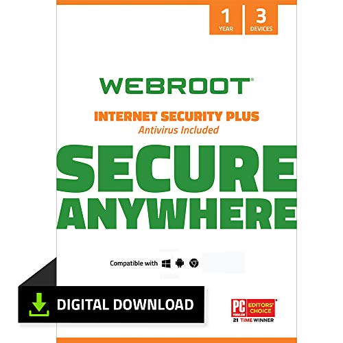 Webroot Internet Security Plus with Antivirus Protection Software | 3 Device |...