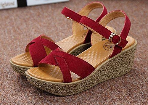 Xing Lin Chaussures D'Été Pour Femmes Pente Avec Des Sandales D'Été Chaussures Confortables En Cuir Épais De Nouveaux Occasionnels Avec Des Sandales À La Fin Red wine mhB4ANxa