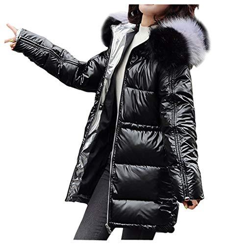 Women Winter Down Puffer Jacket,Memela Womens Mid-Length Overcoat Metallic Shiny Puffer Coat Outerwear with Faux Fur Hood