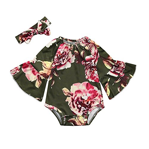 AutumnFall 2Pcs Baby Girls Sweet Floral Print Jumpsuit Romper+Headband Set 2018 New Style Infant Toddler Clothes (Size:6M, Green)