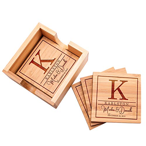 """Customization Mill Customized Bamboo Coasters for Drinks 