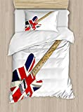 Union Jack Duvet Cover Set by Ambesonne, Classical Electric Guitar UK Flag Great Britain Music Instrument, 2 Piece Bedding Set with 1 Pillow Sham, Twin / Twin XL Size, Light Brown Silver Black