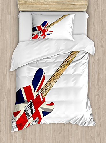 Ambesonne Union Jack Duvet Cover Set, Classical Electric Guitar UK Flag Britain Music Instrument, Decorative 2 Piece Bedding Set with 1 Pillow Sham, Twin Size, Pale Brown Grey Black (Grey And Black Union Jack Bedding Sets)