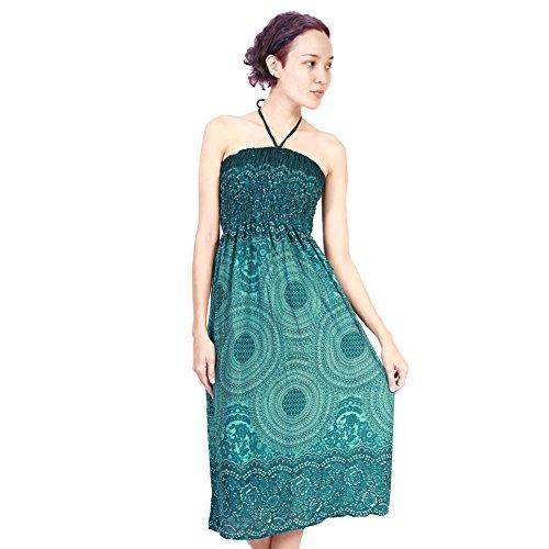 Rita & Risa Women's Printed Boho Flower Design Hippie Harem Strapless Dress (La Risa)