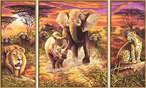 Schipper 609260520 Malen nach Zahlen, Afrika die großen Fünf - Bilder malen für Erwachsene, inklusive Pinsel und Acrylfarben, Triptychon, 50 x 80 cm