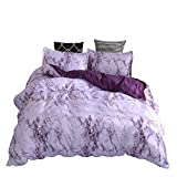 WINLIFE 3D Marble Line Print Duvet Cover Simple Plain Reversible Bedding Set Purple Queen