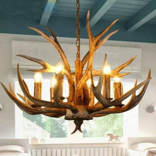 Retro Antler Chandelier Deer Horn Pendant Hanging Light Fixture Ceiling Lamp for Christmas Bar Cafe Party Villas Restaurant Dining Living Room USA Stock 6 Heads