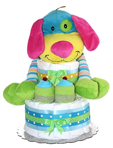 Rainbow Puppy Unique Diaper Cake For Girl Or For Boy/ 2 Tier Diaper cake/ Newborn Gift for Baby shower (Baby Boy-Blue)