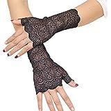 Orcle Women's Short Lace Gloves Fingerless for Driving Wedding Wrist Length Bridal Prom Gloves Black#2