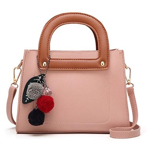 Bolso del Cuero Hombro Pink A Handbag Bolso pequeño Cuadrado del de Color Bolso Cuero de PU Bolso la Mensajero del de 8qFtwtnEC