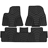 TOOGOO Odorless Heavy Duty Black Car Floor Mats Eco-Friendly All Season Latex Material with Anti-Slip Backing Compatible for Tesla Model 3 2017 2018 2019(Full Set Front & Rear)