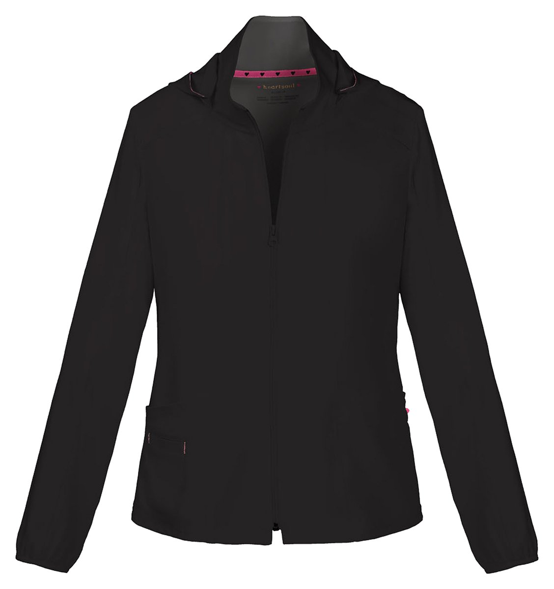 HeartSoul Women's Warm-Up Detachable Hooded Jacket_Black_Large,20310