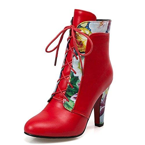 Mode Hälen Kvinna Chunky Häl Rund Tå Blomma Print Snörning Fotled Bootie Röd
