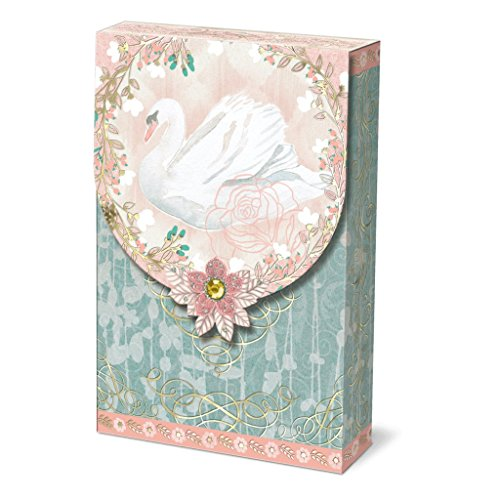 Punch Studio Collection Decorative 3.5x5 in Pouch Note Cards (Pink Swan)