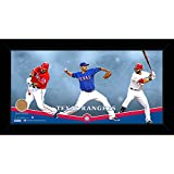 "MLB Texas Rangers Players Composition Graphic Framed Collage with Game Used Dirt from Globe Life Park in Arlington, 10"" x 20"", Navy"