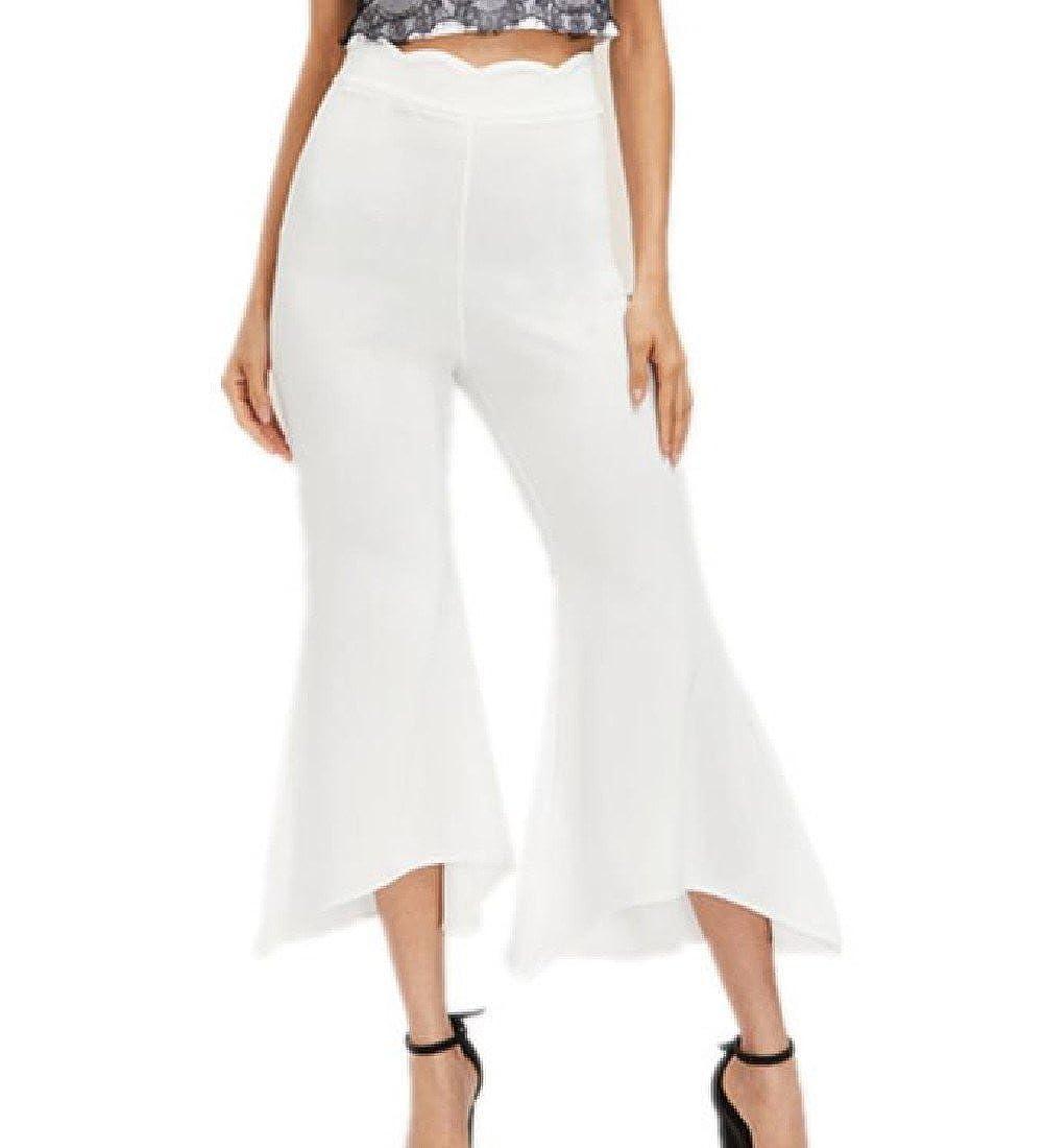 Honey GD Women Slim Bell Bottom Solid Asymmetric Hem Tenths Pants