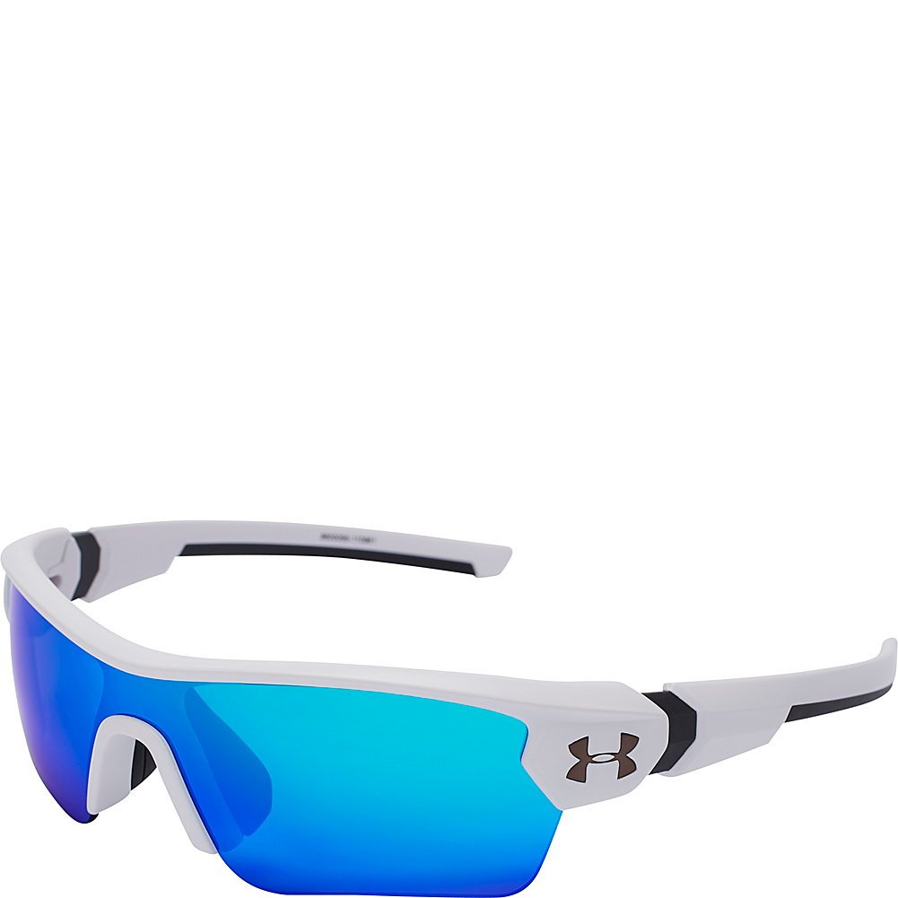 Under Armour Wrap Sunglasses, UA Menace Satin White/Charcoal Frame/Gray/Blue MULTIFLECTION Lens, Youth