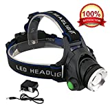 #9: KOLPCTT Rechargeable Headlamp LED, 3 Modes Headlight, T6 Flashlight Headlamp, Battery Powered Helmet Light for Camping, Running, Outdoor fishing?Hiking and Reading?present a charger