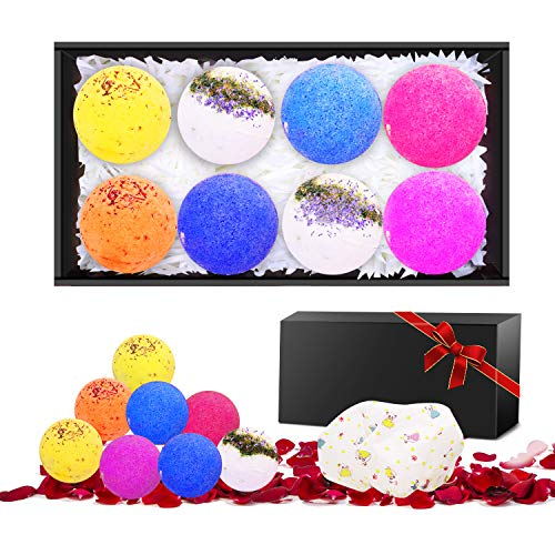 N-LIfe Fragrance Lush Bath Bombs Gifts Set 8 Lush Fizzies Spa Bombs Scent Smells with Free Petals bathing Cap For Relaxing Moisturizing Perfect Christmas Valentine's Day Birthday Packaged Idea Gift by A-tion