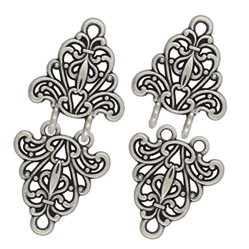 (Bezelry Filigree Trivet Hook and Eye Cloak Clasp Fasteners Pack of 4 Pairs 64mm x 29mm Fastened. (Antique Silver))