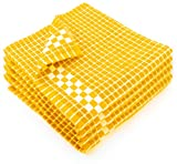 yellow dish cloth - Fecido Classic Dark Kitchen Dish Towels with Hanging Loop - Heavy Duty Absorbent Dish Clothes - European Made 100% Cotton Tea Towels - Set of 4, Yellow