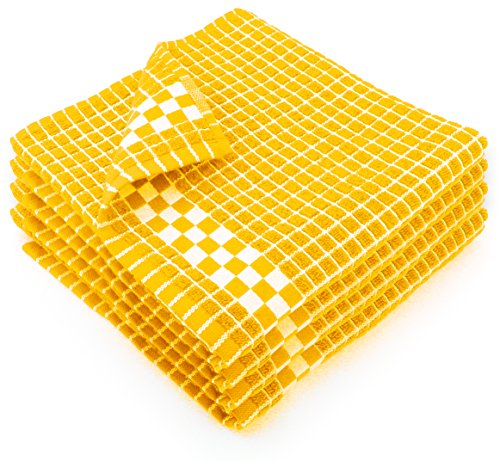 Fecido Classic Dark Kitchen Dish Towels with Hanging Loop - Heavy Duty Absorbent Dish Clothes - European Made 100% Cotton Tea Towels - Set of 4, Yellow ()