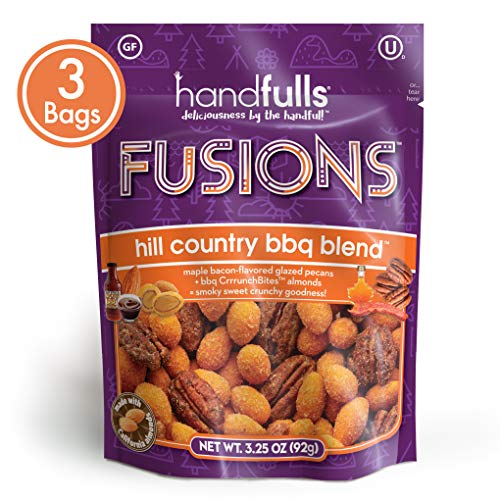 Fusions Hill Country BBQ Blend (3-Pack) Smoky and Sweet Trail Mix by Handfulls: vegetarian maple bacon flavored pecans and bbq almonds. Gluten-free, Non-GMO, OU Kosher (3.25 oz bags)