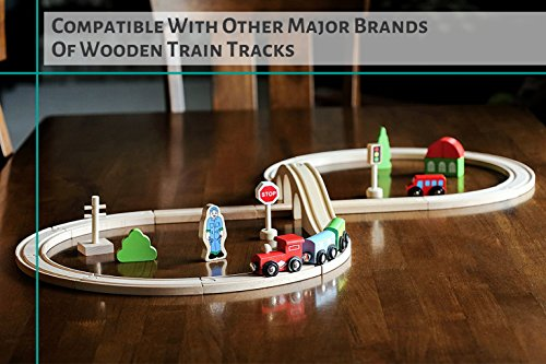 Premium Wooden Train Set Toy - Top Quality Double-Sided Train Tracks, Magnetic Trains Cars & Accessories for Toddlers & Kids 3+ - Compatible w/Thomas Tank Engine, Melissa & Doug, Brio, Chugginton Sets