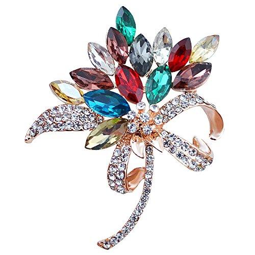 MUZHE Vintage Rhinestone Orchid Flower Crystal Brooch Pin Bowtie Wedding Jewelry - Pin Sapphire Bow
